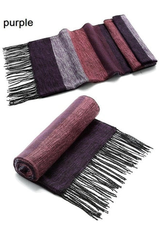 Image of Striped Wool Winter Scarf