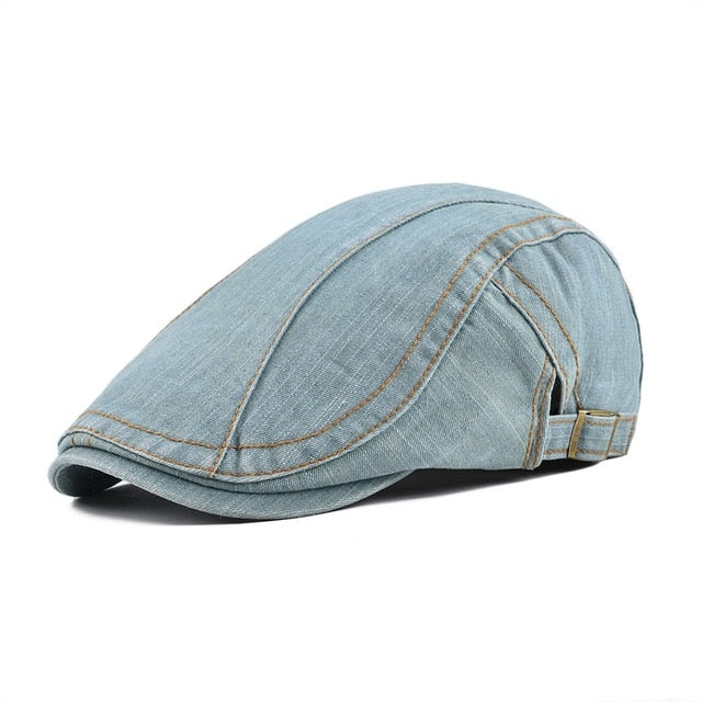Cotton Denim Flat Cap Newsboy Cabbie Beret Gatsby Driver Hats in 4 Colors