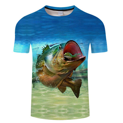 3D FISH Casual Short Sleeve Printed T-Shirt Size S-4XL, Color - TXKH1215