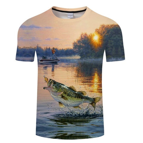 3D FISH Casual Short Sleeve Printed T-Shirt Size S-4XL, Color - TXKH1216