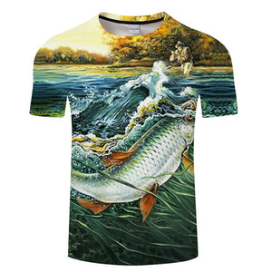 3D FISH Casual Short Sleeve Printed T-Shirt Size S-4XL, Color - TXKH1217