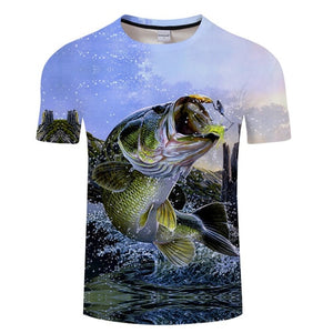 3D FISH Casual Short Sleeve Printed T-Shirt Size S-4XL, Color - TXKH1219