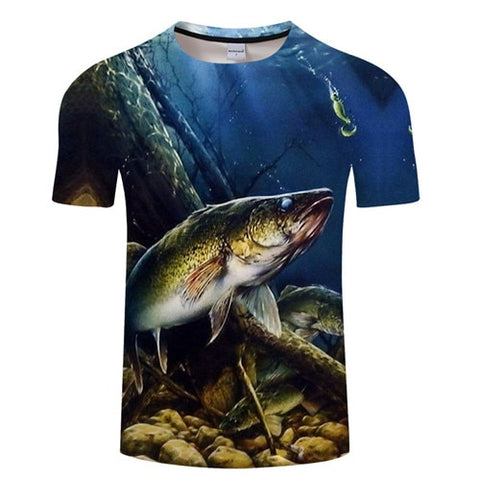 3D FISH Casual Short Sleeve Printed T-Shirt Size S-4XL, Color - TXKH1220