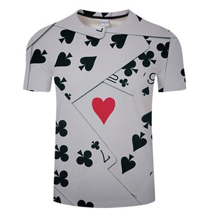 3D CLUBS CARDS T-Shirt Men's Graphic Round Neck Short Sleeved Tops - Size Small to 4XL, Color - TXKH3078