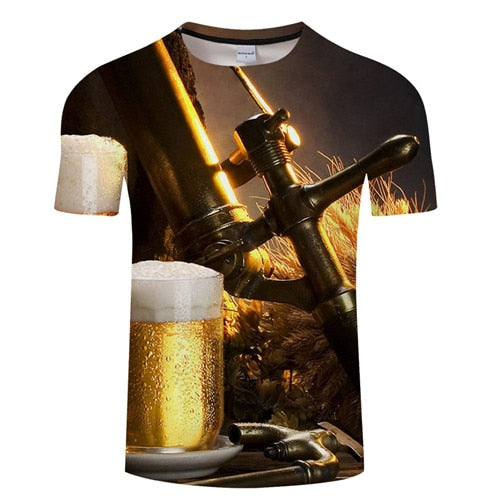 3D BEER T-Shirt Men's Graphic Round Neck Short Sleeved Tops - Size Small to 4XL, Color - TXKH3083