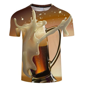 3D BEER T-Shirt Men's Graphic Round Neck Short Sleeved Tops - Size Small to 4XL, Brown Background, Color - TXKH3084