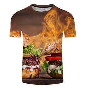 3D BURGER T-Shirt Men's Graphic Round Neck Short Sleeved Tops - Size Small to 4XL, Brown Flame, Color - TXKH3086
