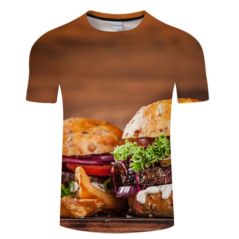 3D BURGER T-Shirt Men's Graphic Round Neck Short Sleeved Tops - Size Small to 4XL, Brown Background, Color - TXKH3087