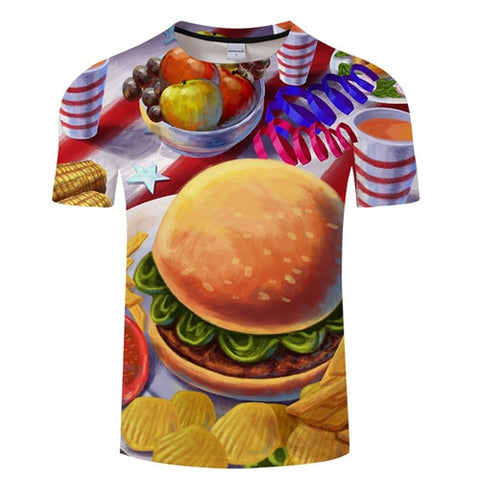 3D BURGER T-Shirt Men's Graphic Round Neck Short Sleeved Tops - Size Small to 4XL, White Background, Color - TXKH3088