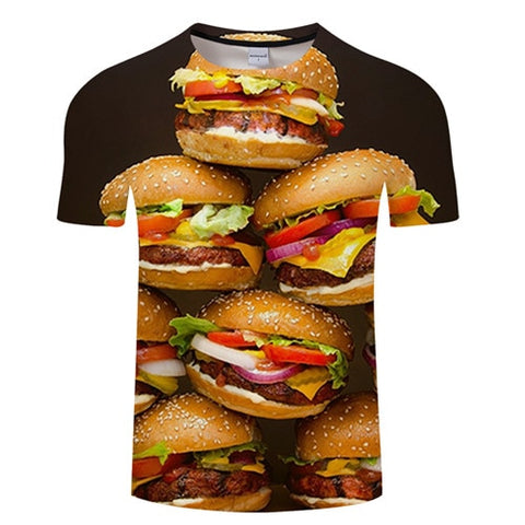 3D BURGER T-Shirt Men's Graphic Round Neck Short Sleeved Tops - Size Small to 4XL, Black Background, Color - TXKH3089