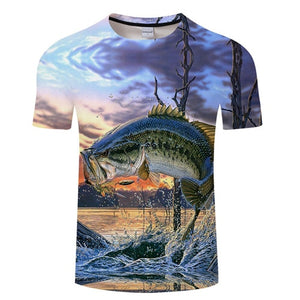3D FISH Casual Short Sleeve Printed T-Shirt Size S-4XL, Color - TXKH432