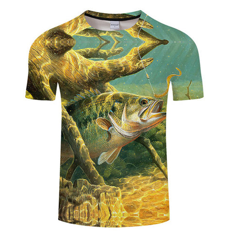 Image of 3D FISH Casual Short Sleeve Printed T-Shirt Size S-4XL, Color - TXKH433