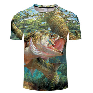 3D FISH Casual Short Sleeve Printed T-Shirt Size S-4XL, Color - TXKH436
