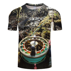 3D FISHING REEL Casual Short Sleeve Printed T-Shirt Size S-4XL, Color - TXKH442