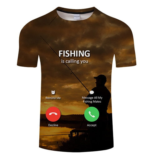 3D FISH Casual Short Sleeve Printed T-Shirt Size S-4XL, Color - TXKH443