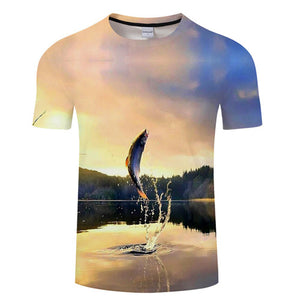 3D FISH Casual Short Sleeve Printed T-Shirt Size S-4XL, Color - TXKH445