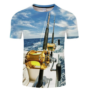 3D FISH Casual Short Sleeve Printed T-Shirt Size S-4XL, Color - TXKH450