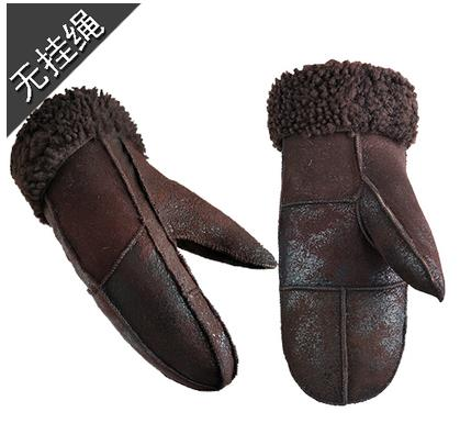 Image of Winter Sheepskin Wool Thermal Mitten Gloves