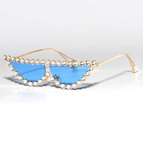 Luxury Diamond Crystal Cat Eye Fashion Shades Vintage Sun Glasses