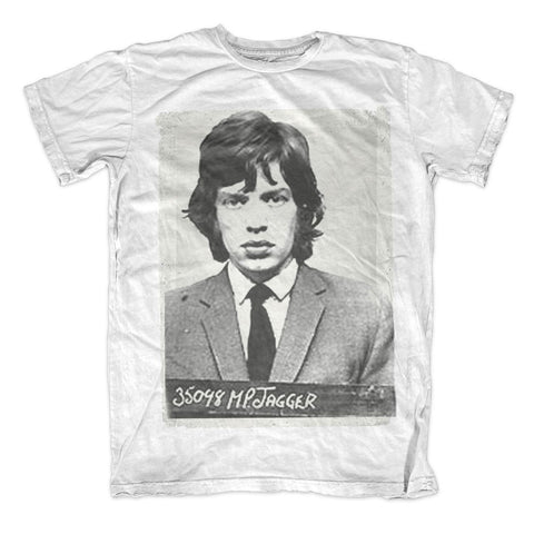 ROLLING STONES MICK MUGSHOT - MENS WHITE T-SHIRT - The Hollywood Apparel