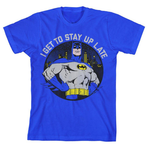 DC Comics Batman ?I Get to Stay Up Late? Boys T-shirt - The Hollywood Apparel