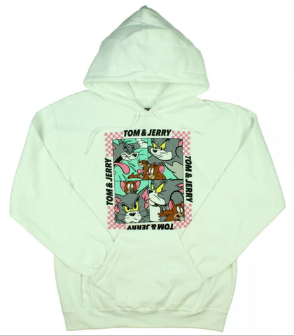 Tom & Jerry Comic Strip White Hoodie