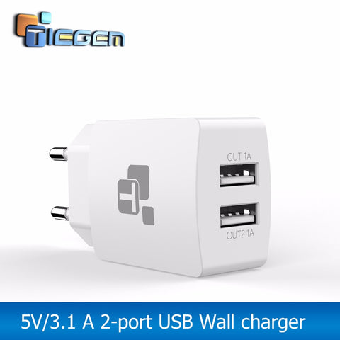 TIEGEM USB Charger 2-Port Power Adapter EU Plug