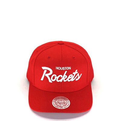 Mitchell & Ness Pre Curve Script Snapback - Houston Rockets (Red) Hats Mitchell & Ness