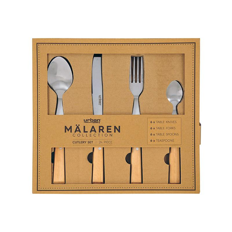 Urban Cutlery Malaren 24p Cutlery Set - Wood Kitchenware Isbister & Co Wholesale