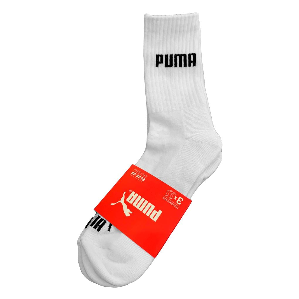 Puma Unisex Socks (3 Pack) - White/Black - Size US7-9 SP-ApparelSocks-Unisex Puma