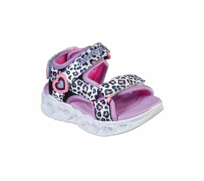 Skechers Girls Heart Lights - Savvy Cat - White Multi SP-Footwear-Kids Skechers