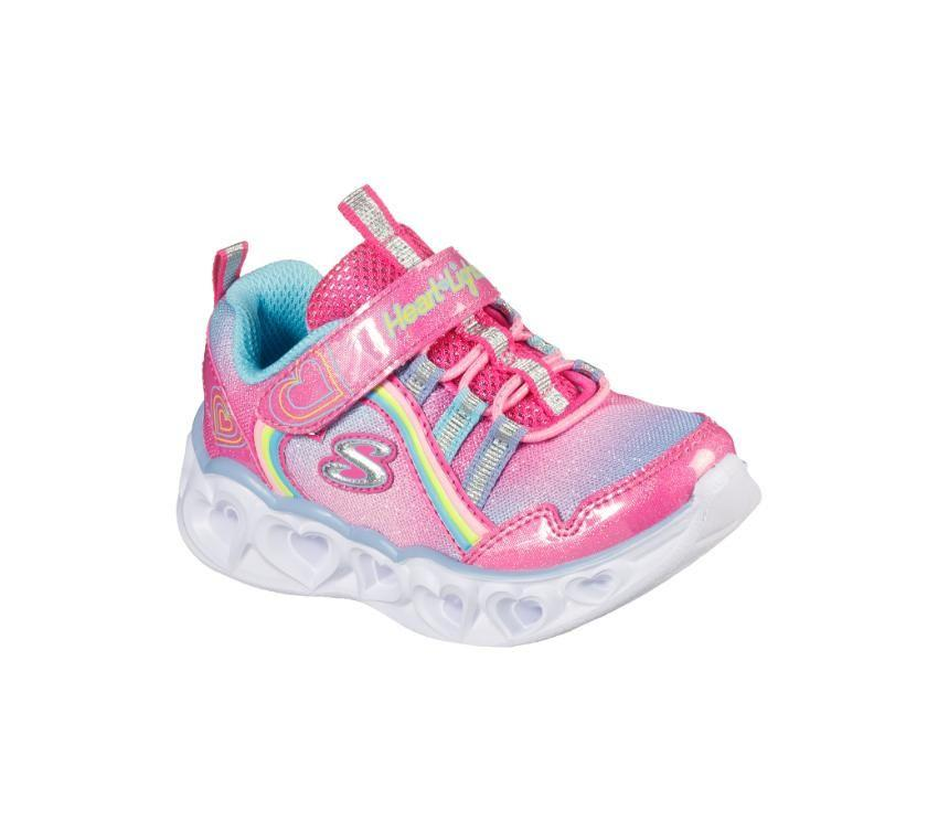 Skechers Infant Heart Lights - Rainbow Lux - Pink/Multi SP-Footwear-Kids Skechers