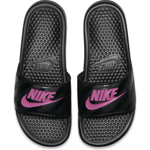 "Nike Womens Benassi ""Just Do It."" Sandal - Black/Vivid Pink-Black Q3NIKE Nike"