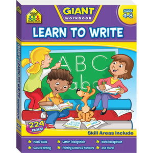 School Zone Giant Workbook (Learn to Write) & Flashcard Pack (Alphabet) Books Hinkler Books
