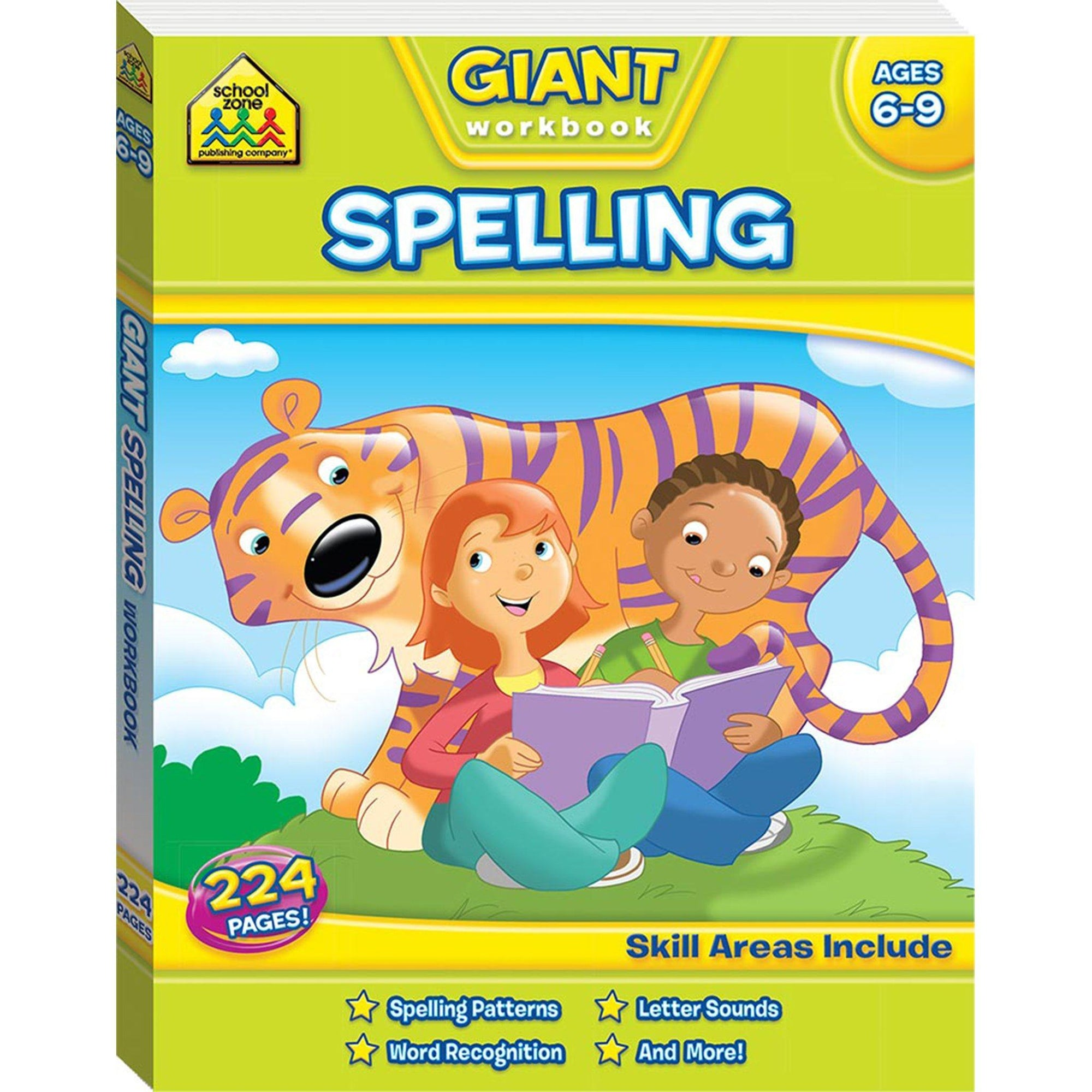 School Zone Giant Workbook (Spelling) & Flashcard Pack (Go Fish Alphabet) Books Hinkler Books