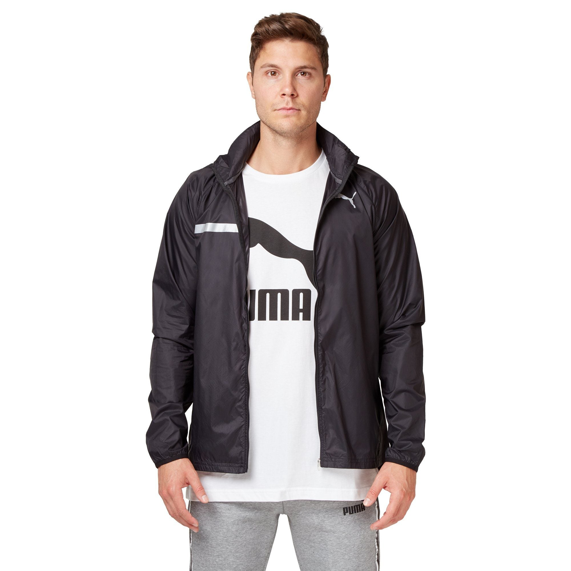 Puma Men's Lightweight Hooded Jacket - Black Apparel Puma  (2122604904507)