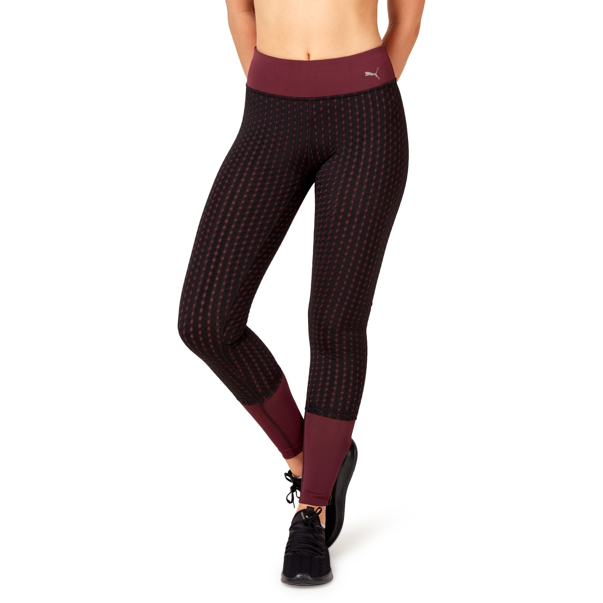 Puma Women's Luxe Mesh Tight - Fig/Black Apparel Puma  (2122608345147)