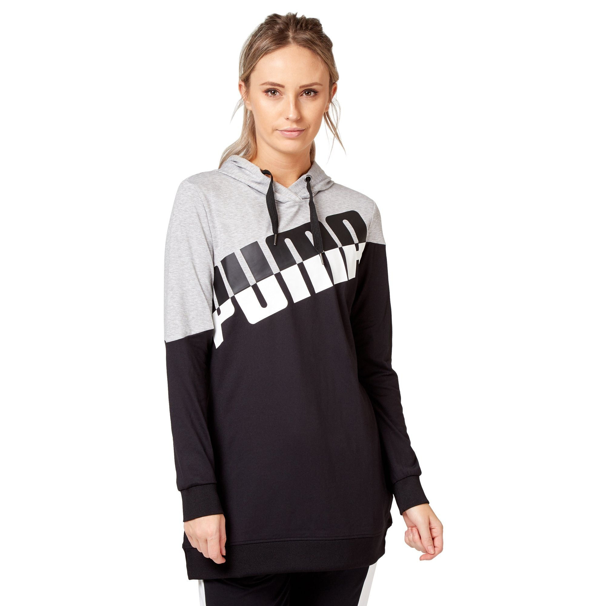 Puma Women's A.C.E. Blocked Hoodie - Light Grey Heather/Black Apparel Puma