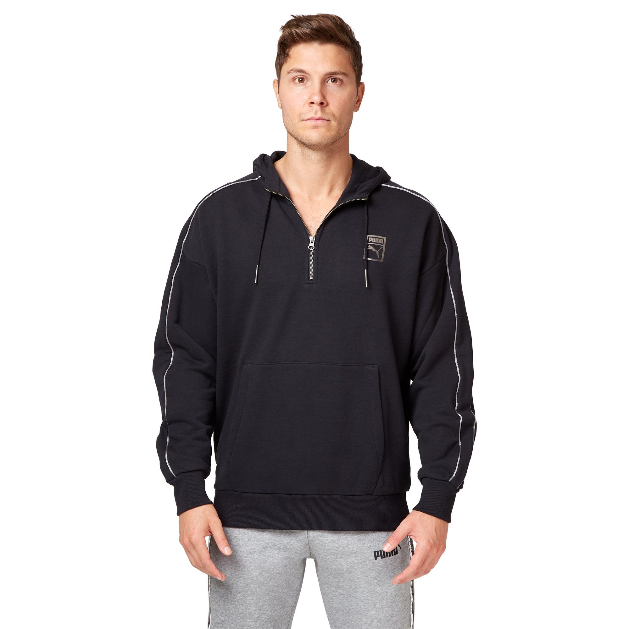 Puma Men's Chains T7 Half Zip Hoodie - Black Apparel Puma  (2122605822011)