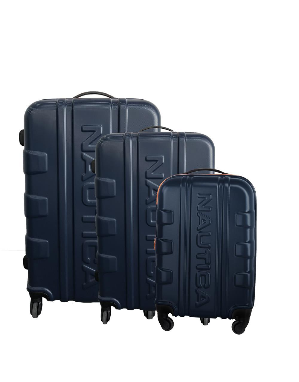 Clipper 83 - 3 Piece Hard Side Luggage - Navy/Orange Luggage Nautica