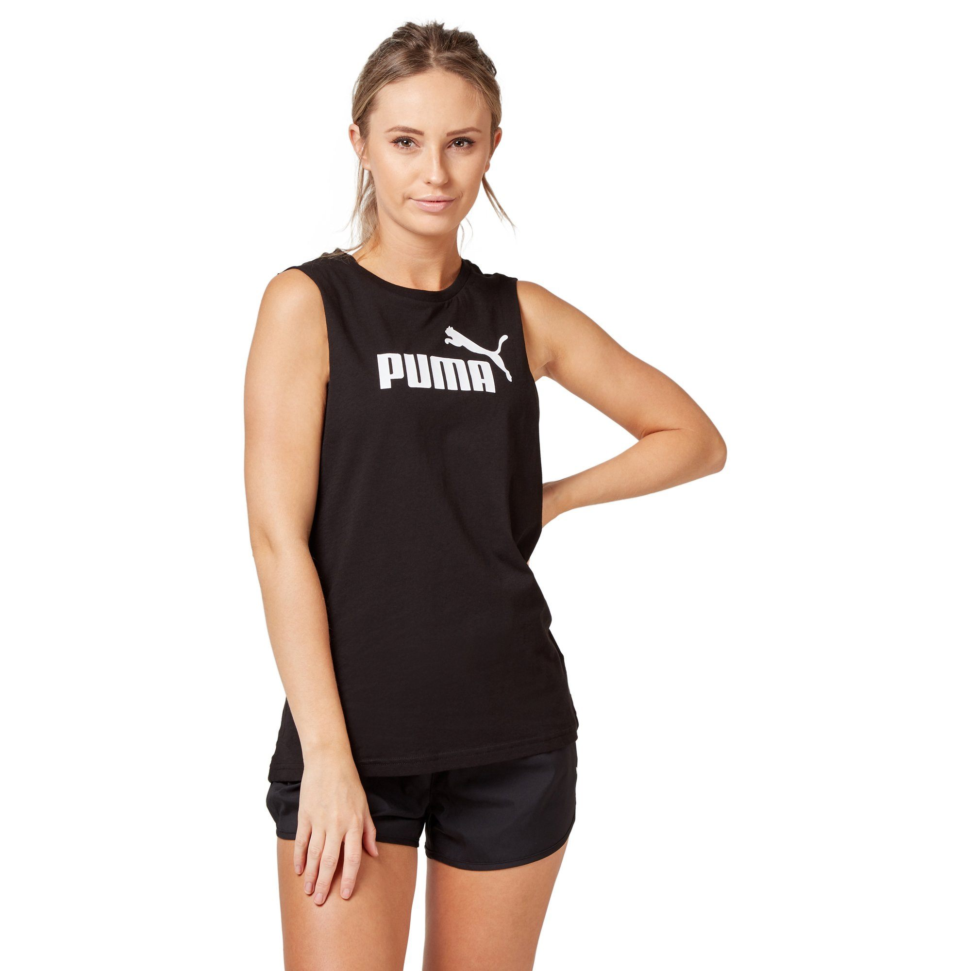 Puma Women's Cut Off Boyfriend Tank - Black Apparel Puma