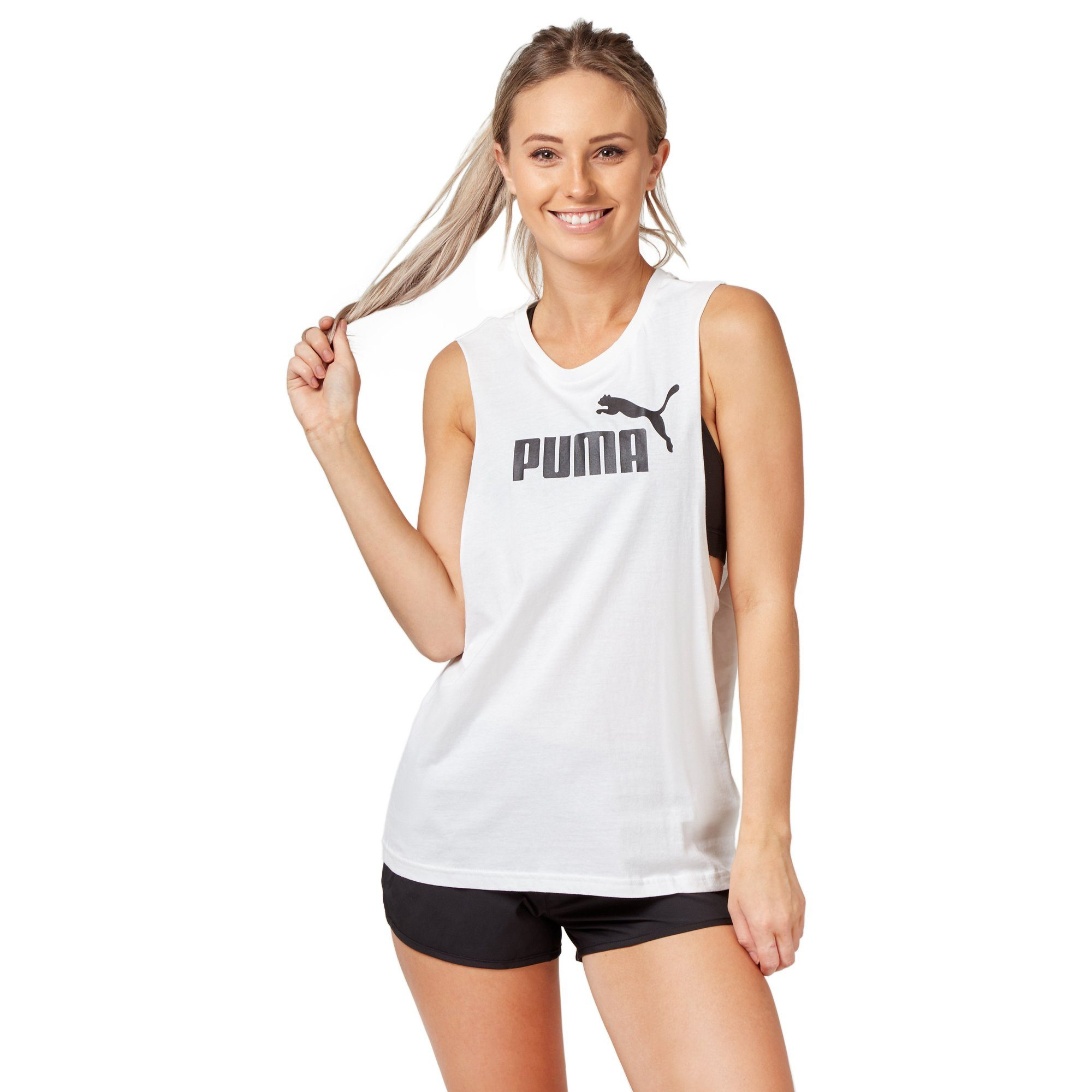 Puma Women's Cut Off Boyfriend Tank - White Apparel Puma