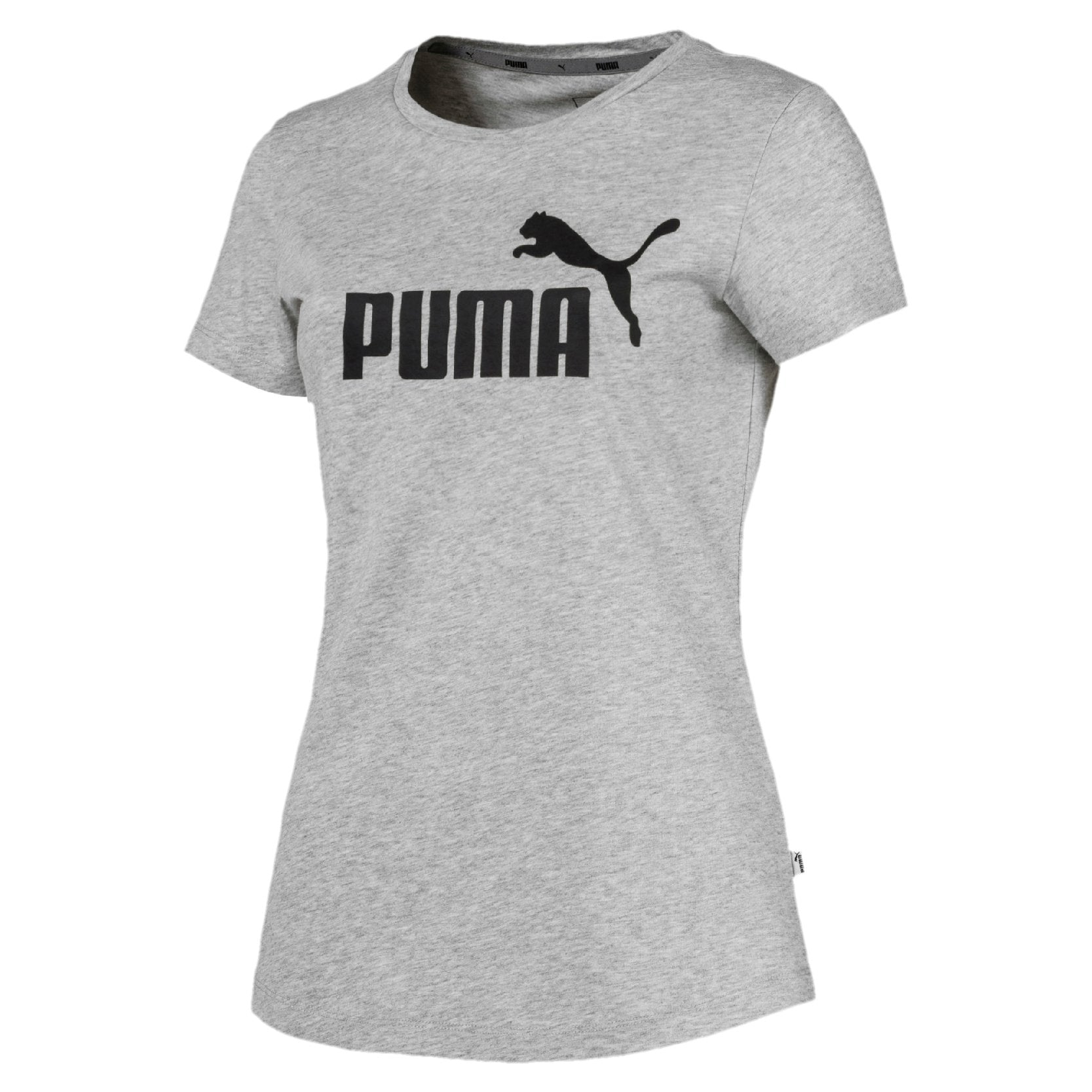 Puma Essentials Women's Logo Tee - Light Gray Heather SP-ApparelTees-Womens Puma