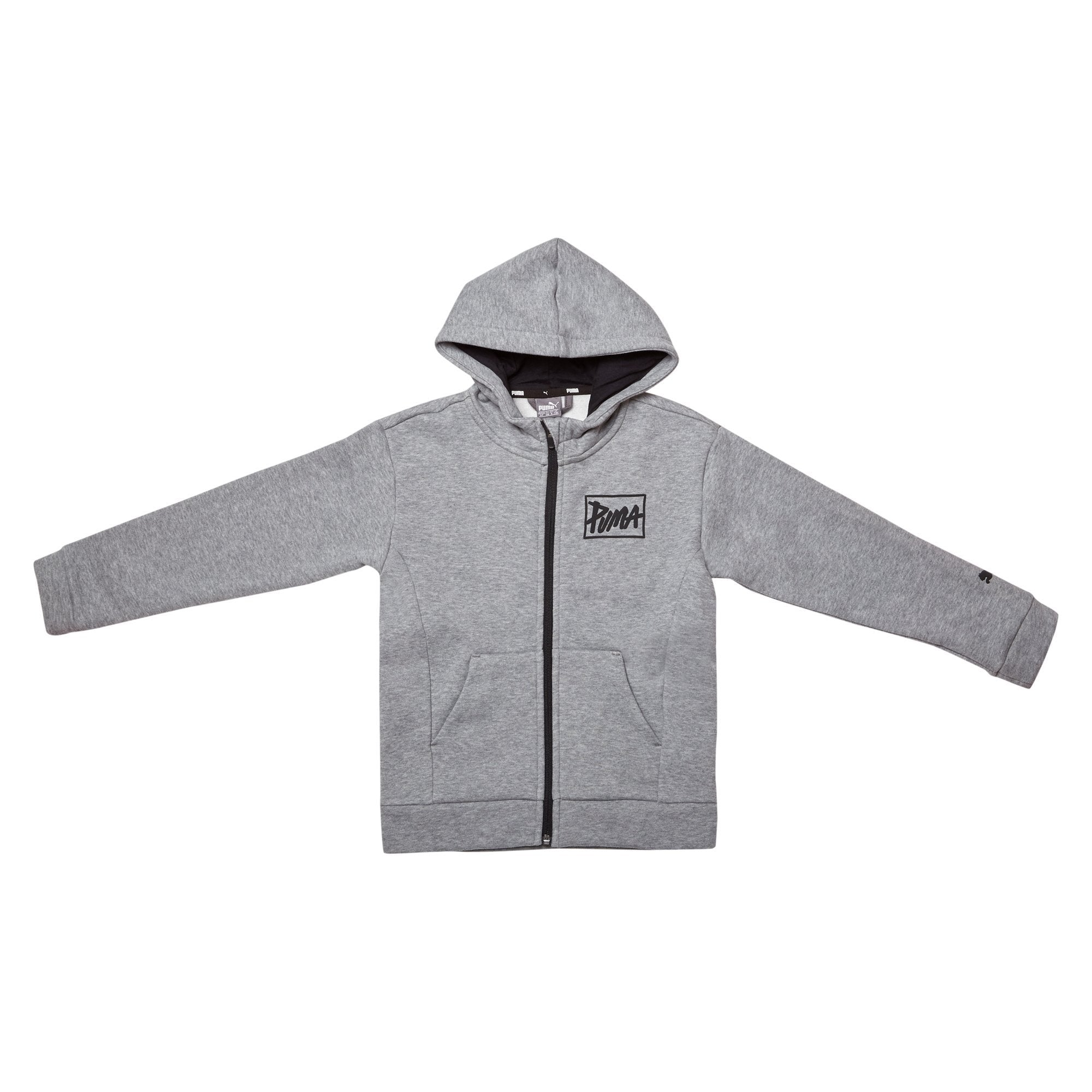 Puma Juniors Style Full Zip Hoodie - Medium Grey Heather Apparel Puma
