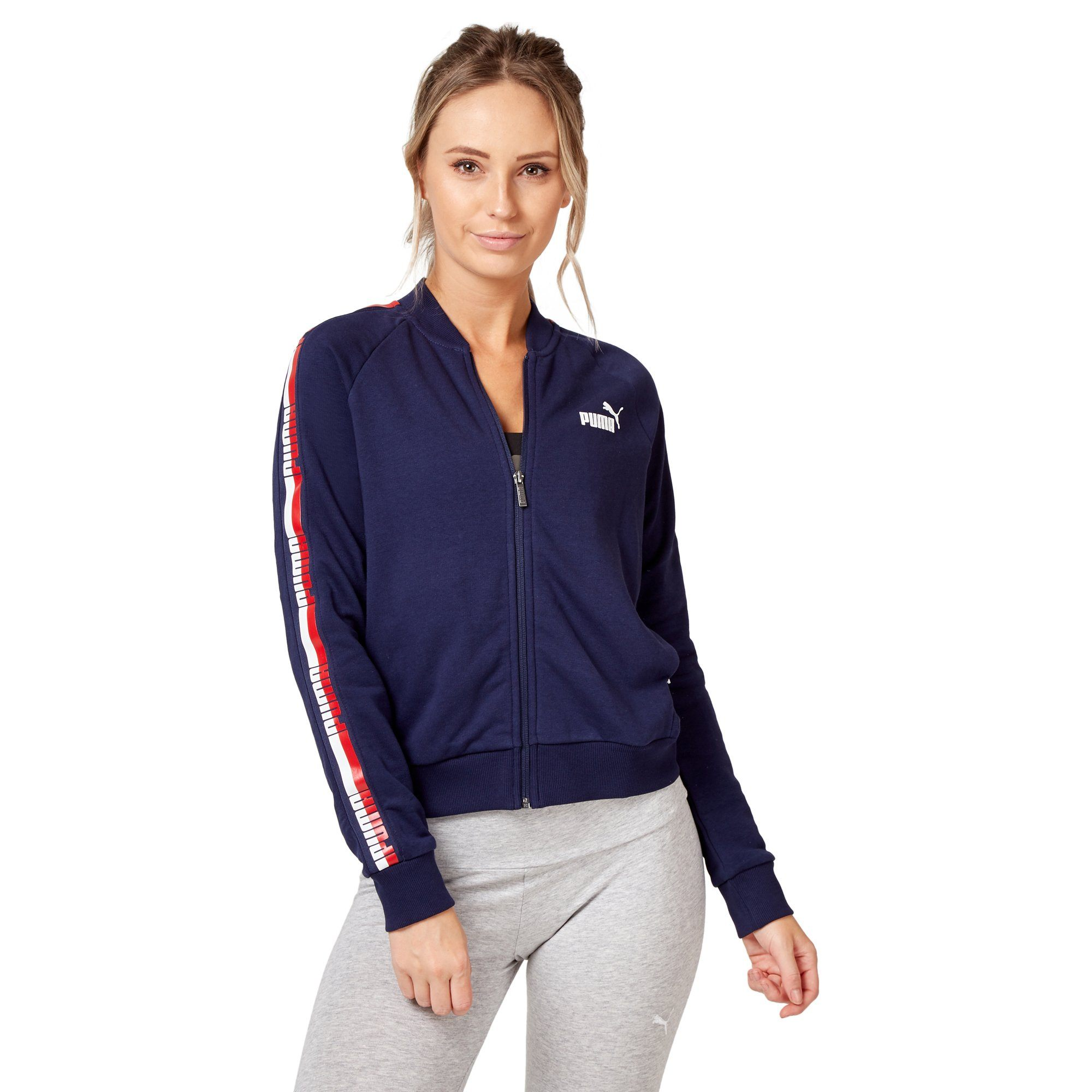 Puma Women's Tape Fleece Jacket - Peacoat Apparel Puma