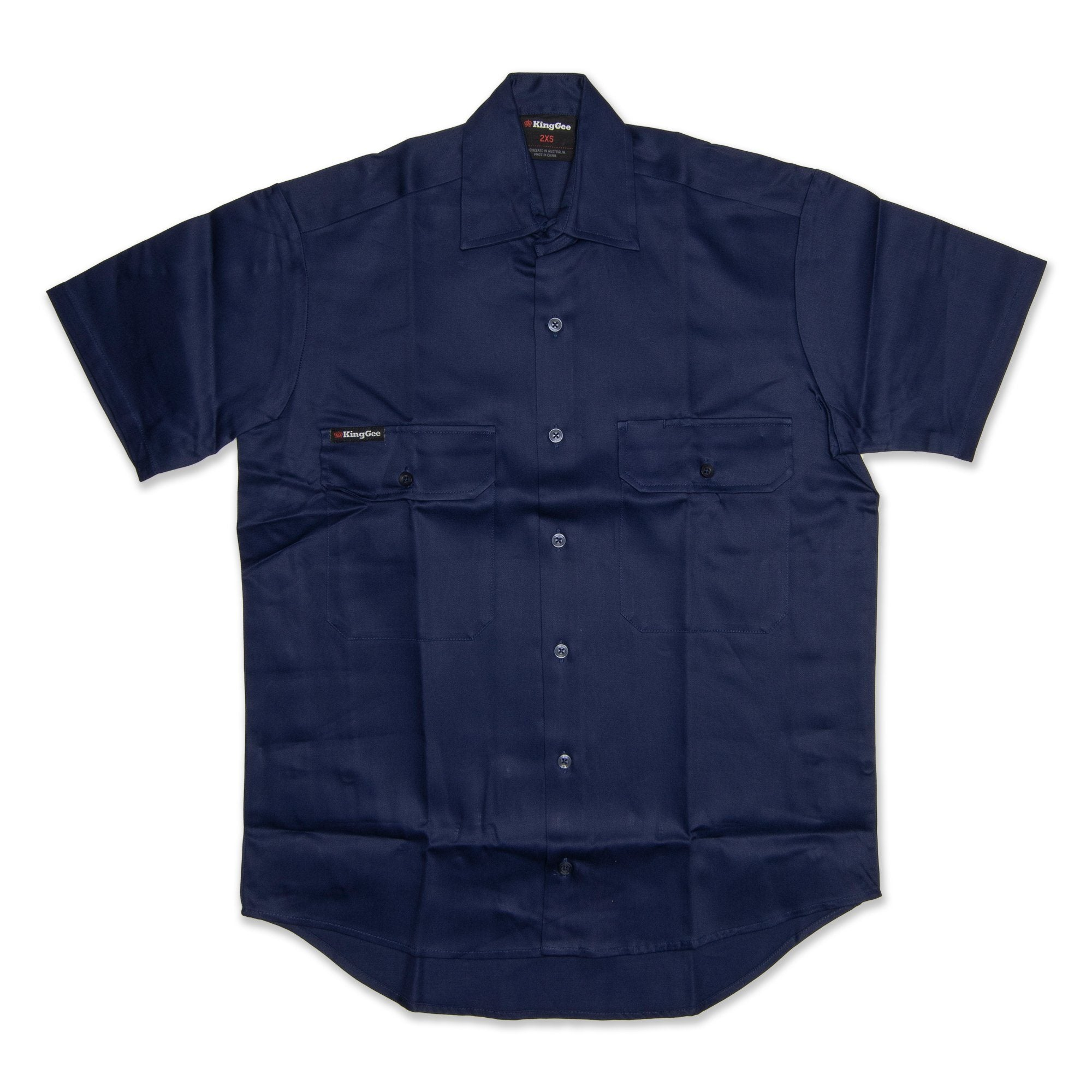 King Gee Short Sleeve Open Front Drill Men's Shirt - Navy Workwear King Gee