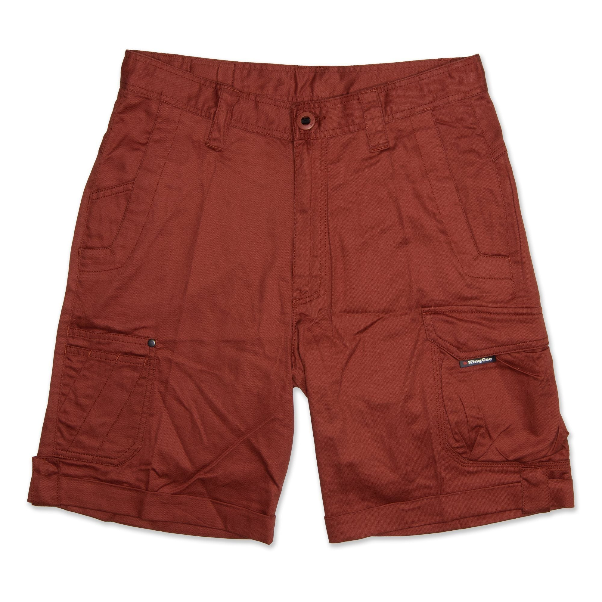 King Gee Tradies Roll Up Men's Shorts - Rust Workwear King Gee