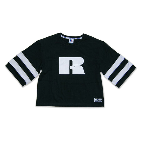 Russell Womens Cropped Monochrome T-Shirt - Black SP-ApparelTees-Womens Designworks