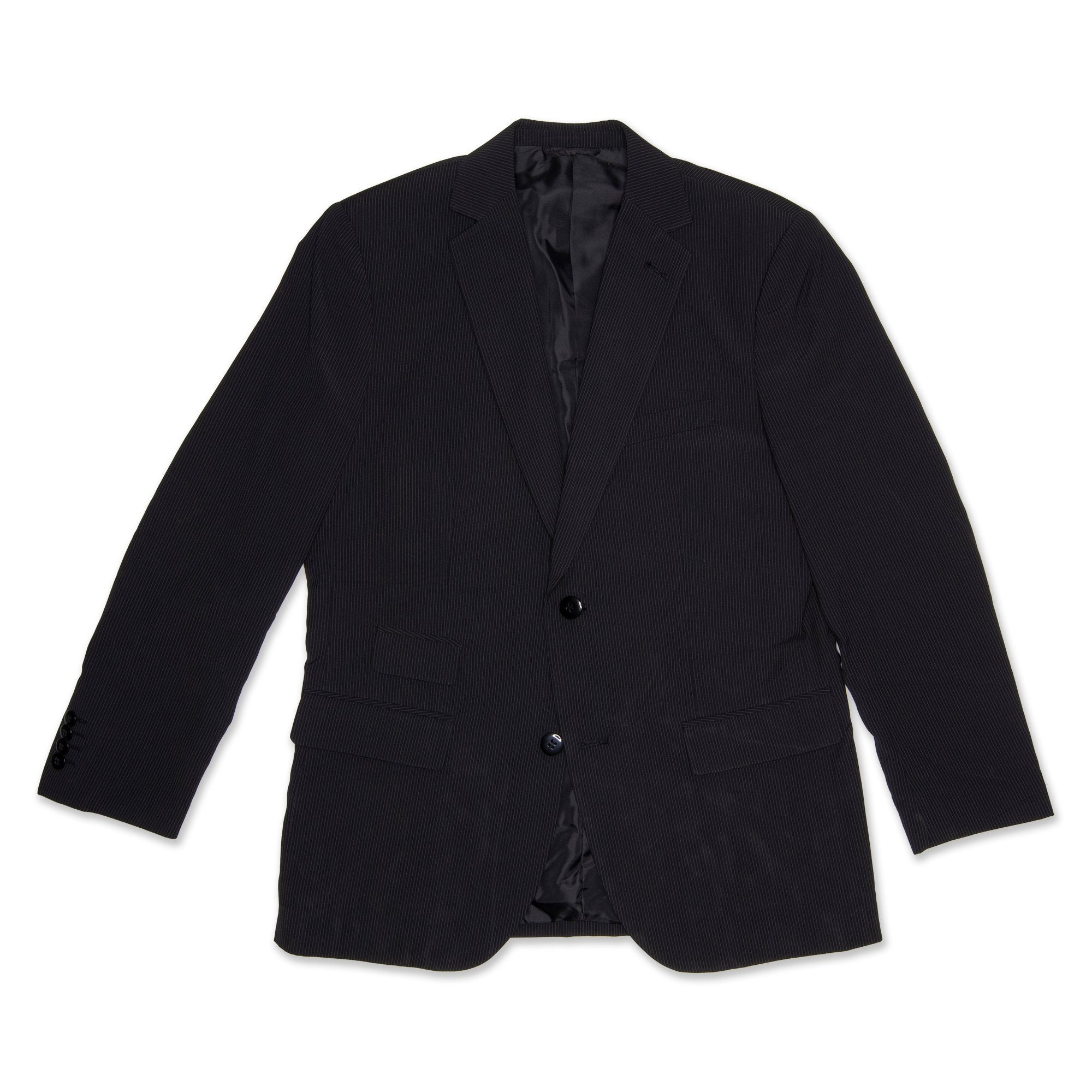 Fred Bracks Single Breasted 2 Button Boy's Jacket Pinstripe - Black Workwear Fred Bracks