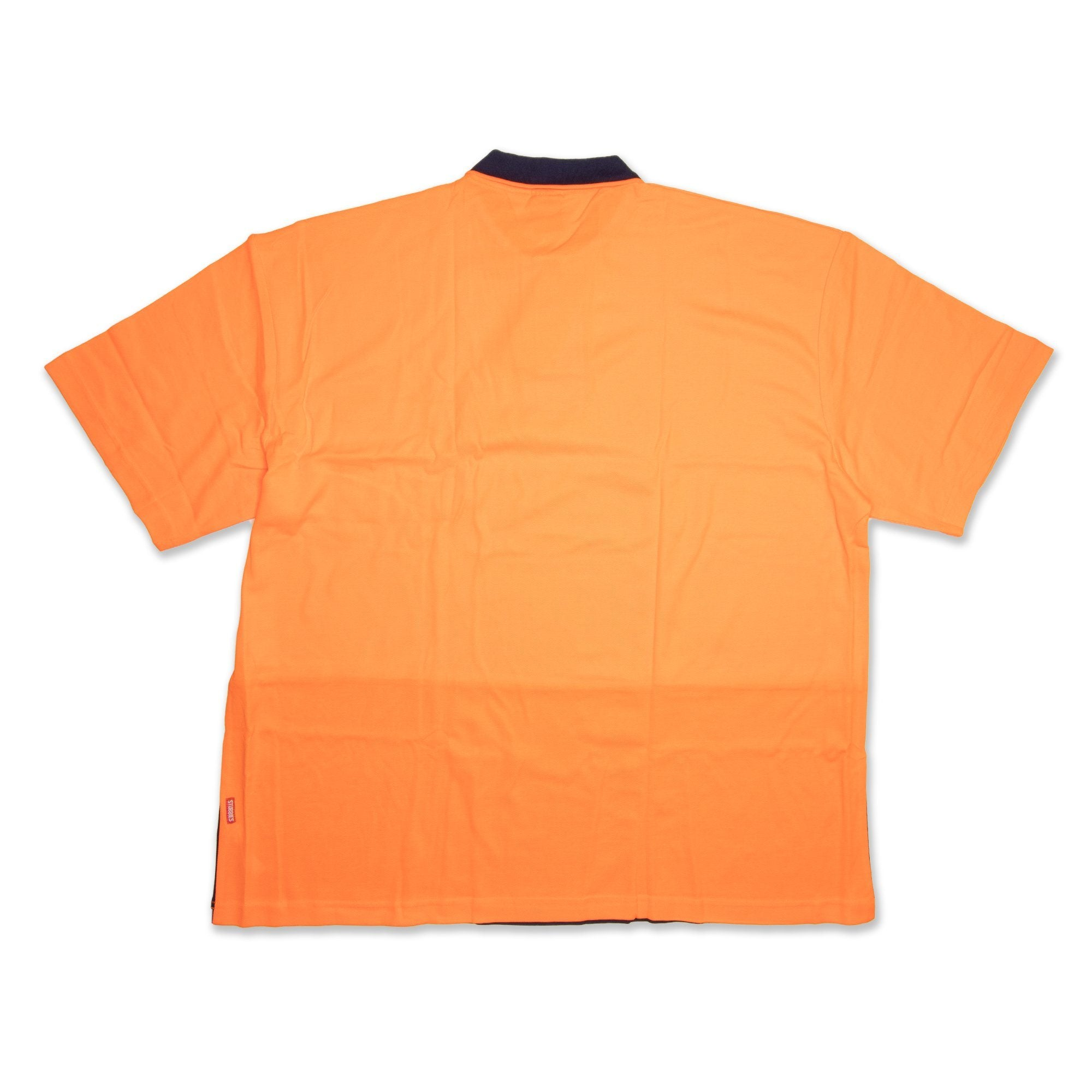 Stubbies Hi Vis Short Sleeve Men's Polo - Orange Workwear Stubbies